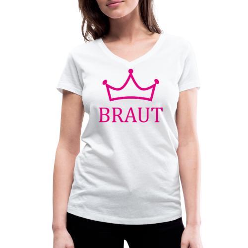 Braut Krone pink Junggesellinnenabschied - Frauen Bio-T-Shirt mit V-Ausschnitt von Stanley & Stella