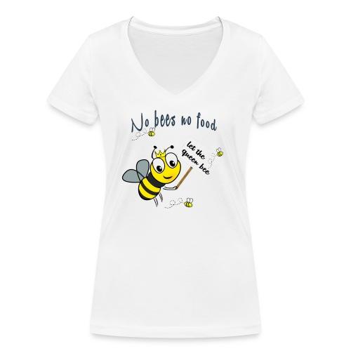 Save the bees with this cute design! Red de bij - Vrouwen bio T-shirt met V-hals van Stanley & Stella