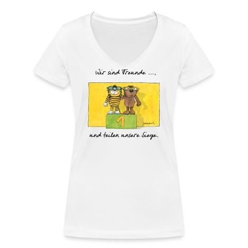 Janoschs 'Wir sind Freunde, und teilen ...' - Frauen Bio-T-Shirt mit V-Ausschnitt von Stanley & Stella