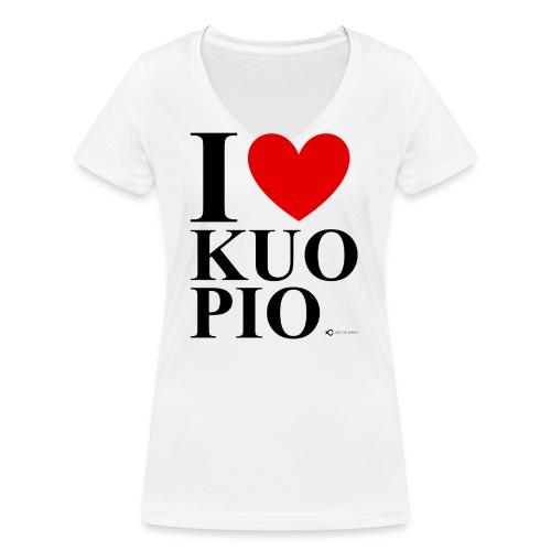 I LOVE KUOPIO ORIGINAL (musta) - Stanley & Stellan naisten v-aukkoinen luomu-T-paita