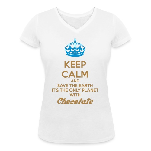 Chocolate Keep Calm - T-shirt ecologica da donna con scollo a V di Stanley & Stella