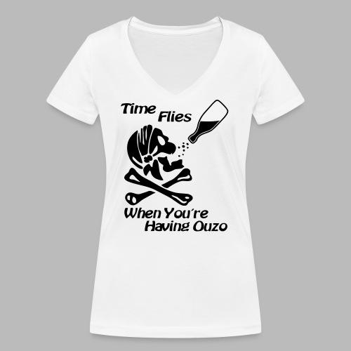 Time Flies Ouzs Shirt - Frauen Bio-T-Shirt mit V-Ausschnitt von Stanley & Stella