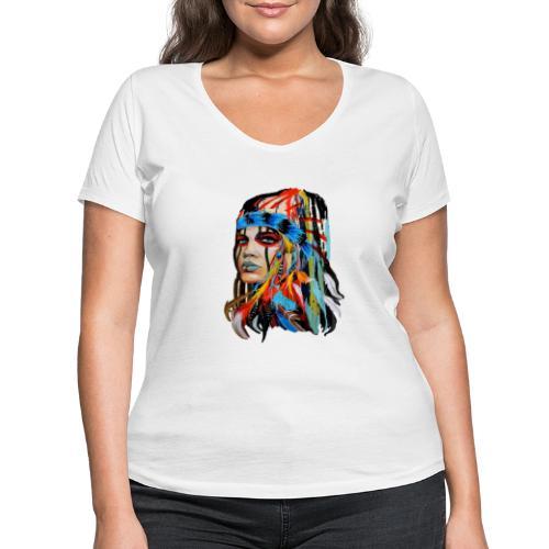 Pióra i pióropusze - Ekologiczna koszulka damska z dekoltem w serek Stanley & Stella