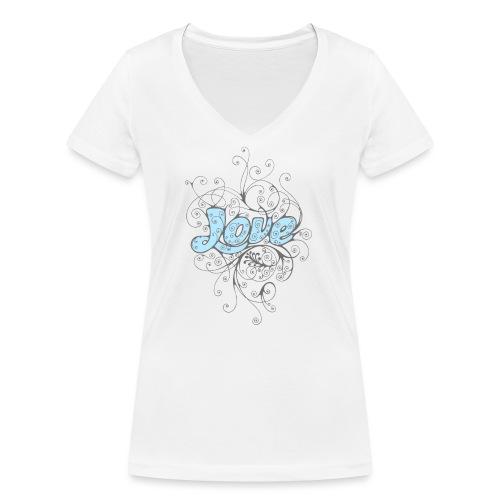 LOVE CON DECORI - T-shirt ecologica da donna con scollo a V di Stanley & Stella