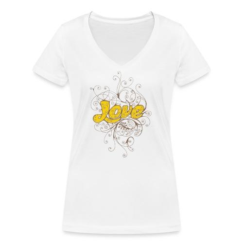 Scritta Love con decorazione - T-shirt ecologica da donna con scollo a V di Stanley & Stella