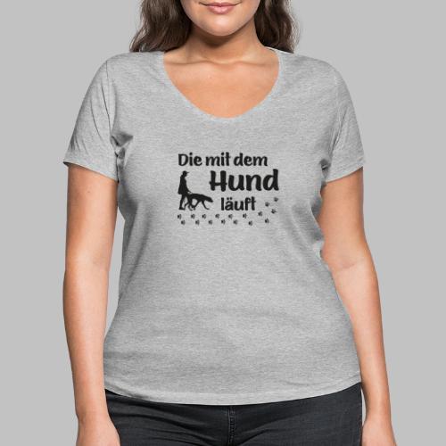 Die mit dem Hund läuft - Pfoten - Pfotenabdruck - Frauen Bio-T-Shirt mit V-Ausschnitt von Stanley & Stella