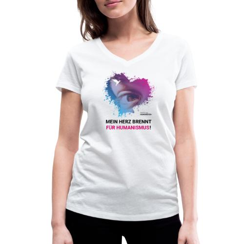 Mein Herz brennt für Humanismus! - Frauen Bio-T-Shirt mit V-Ausschnitt von Stanley & Stella