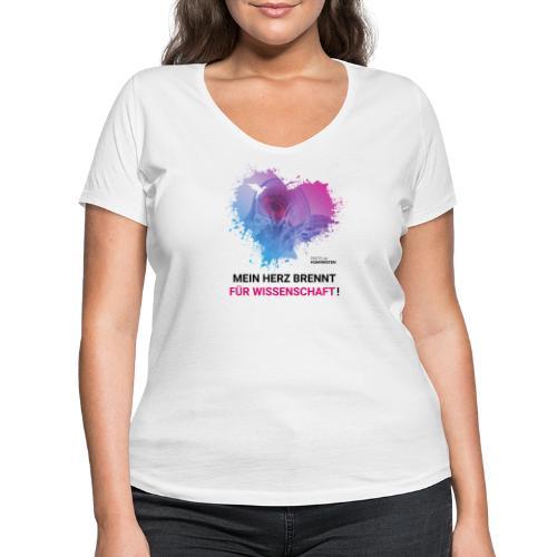 Mein Herz brennt für Wissenschaft! - Frauen Bio-T-Shirt mit V-Ausschnitt von Stanley & Stella