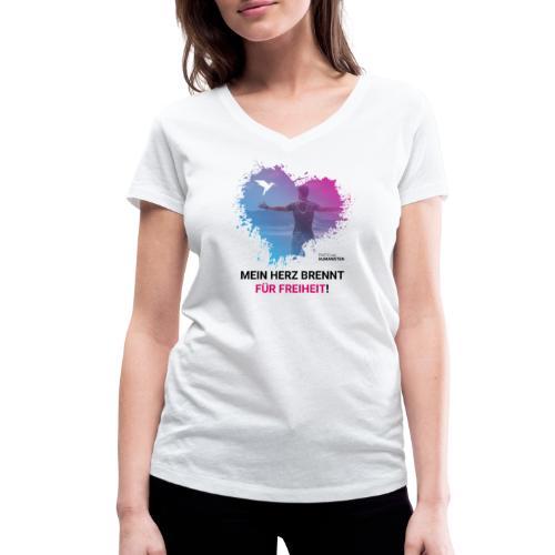 Mein Herz brennt für Freiheit! - Frauen Bio-T-Shirt mit V-Ausschnitt von Stanley & Stella