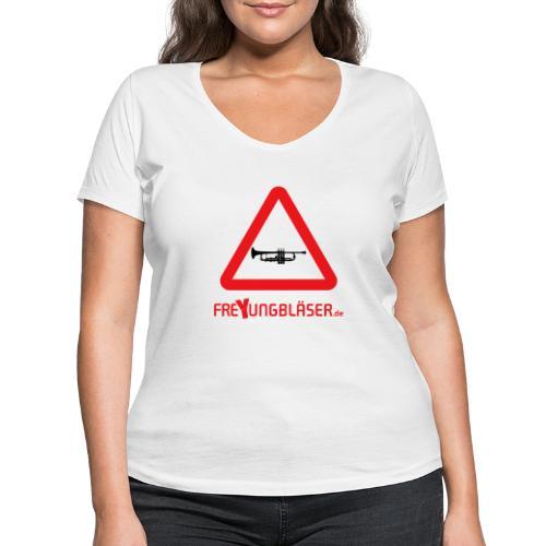 Freyungbläser Design 1 (rot) - Frauen Bio-T-Shirt mit V-Ausschnitt von Stanley & Stella