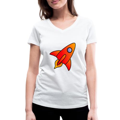 Red Rocket - Women's Organic V-Neck T-Shirt by Stanley & Stella