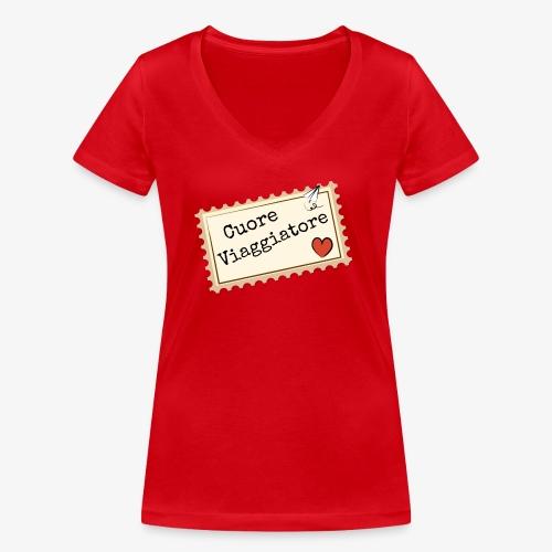 CUORE VIAGGIATORE Scritta con aeroplanino e cuore - T-shirt ecologica da donna con scollo a V di Stanley & Stella