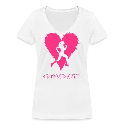 #Runnerheart Girl small - Frauen Bio-T-Shirt mit V-Ausschnitt von Stanley & Stella