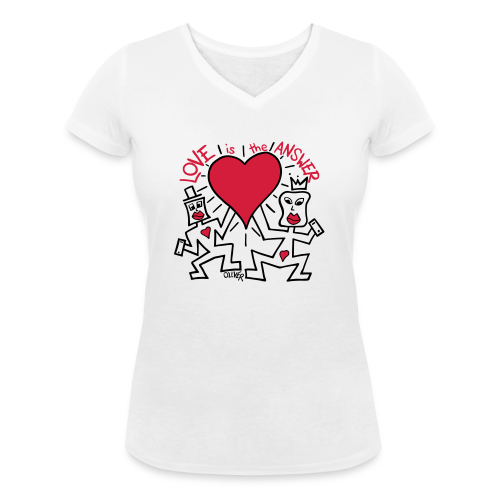 Love is the Answer by Oliver Schibli - Women's Organic V-Neck T-Shirt by Stanley & Stella