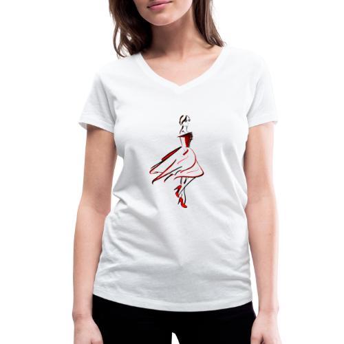 ladyred - Frauen Bio-T-Shirt mit V-Ausschnitt von Stanley & Stella