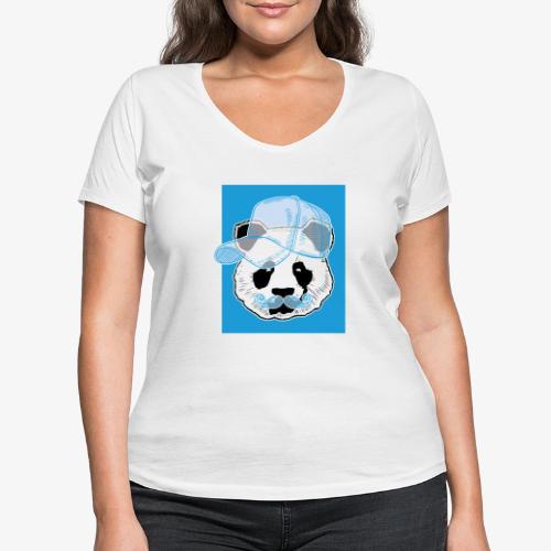Panda - Cap - Mustache - Frauen Bio-T-Shirt mit V-Ausschnitt von Stanley & Stella