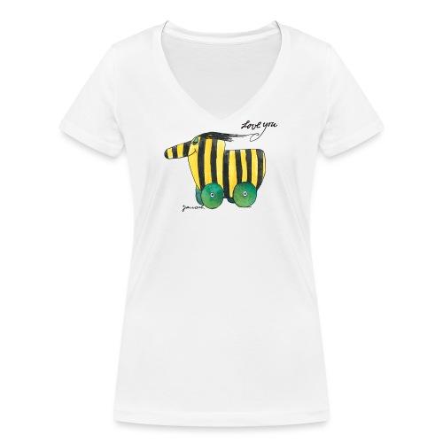 Janosch Tigerente Love you - Frauen Bio-T-Shirt mit V-Ausschnitt von Stanley & Stella