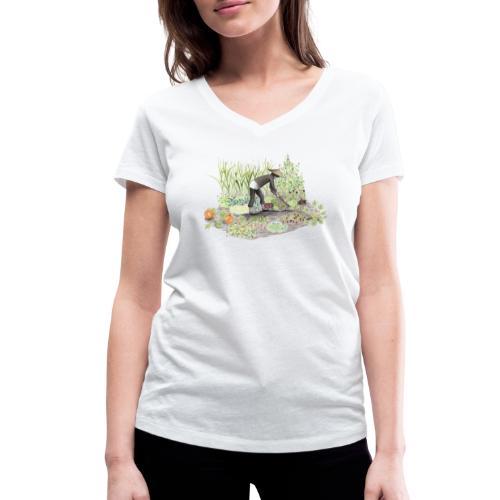 Auf dem Acker Schmal – Handgezeichnet - Frauen Bio-T-Shirt mit V-Ausschnitt von Stanley & Stella