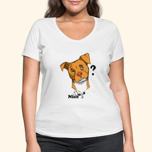 Nice Dogs pitbull 2 - T-shirt ecologica da donna con scollo a V di Stanley & Stella