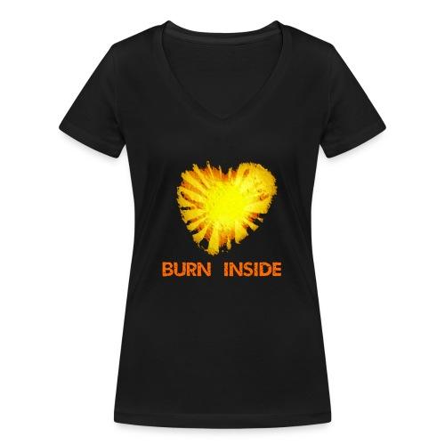 Burn inside - T-shirt ecologica da donna con scollo a V di Stanley & Stella