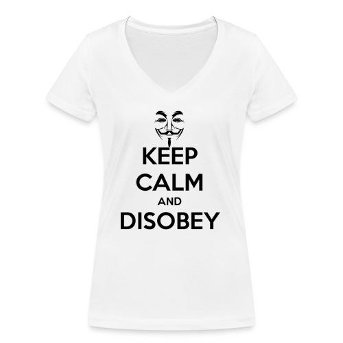keep calm and disobey thi - Økologisk T-skjorte med V-hals for kvinner fra Stanley & Stella