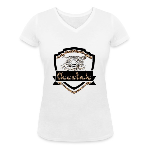 Cheetah Shield - Women's Organic V-Neck T-Shirt by Stanley & Stella