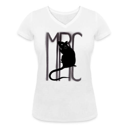 MRC Banksy rat black - Women's Organic V-Neck T-Shirt by Stanley & Stella