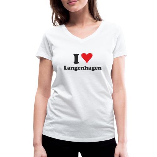 I Love Langenhagen - Frauen Bio-T-Shirt mit V-Ausschnitt von Stanley & Stella
