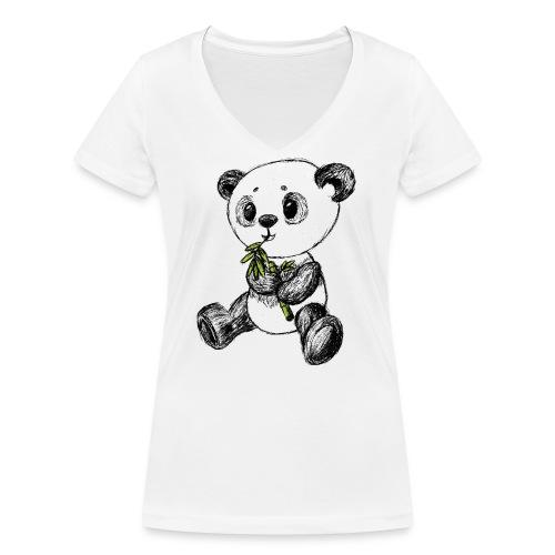 Panda bjørn farvet scribblesirii - Økologisk Stanley & Stella T-shirt med V-udskæring til damer