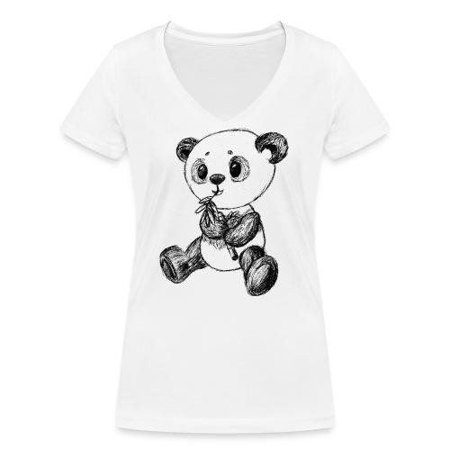 Panda Karhu musta scribblesirii - Stanley & Stellan naisten v-aukkoinen luomu-T-paita