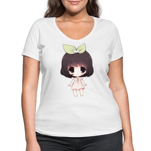 Cute anime girl chibi - Women's Organic V-Neck T-Shirt by Stanley & Stella