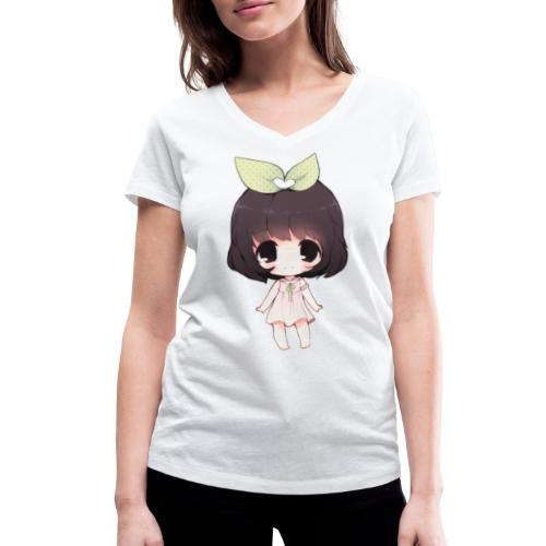 Cute anime girl chibi - Women's Organic V-Neck T-Shirt by Stanley & Stella
