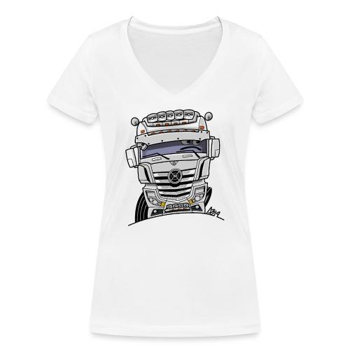 0807 M truck wit - Vrouwen bio T-shirt met V-hals van Stanley & Stella