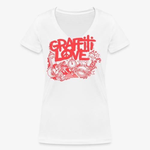 cosmos1 red graffiti love - Frauen Bio-T-Shirt mit V-Ausschnitt von Stanley & Stella