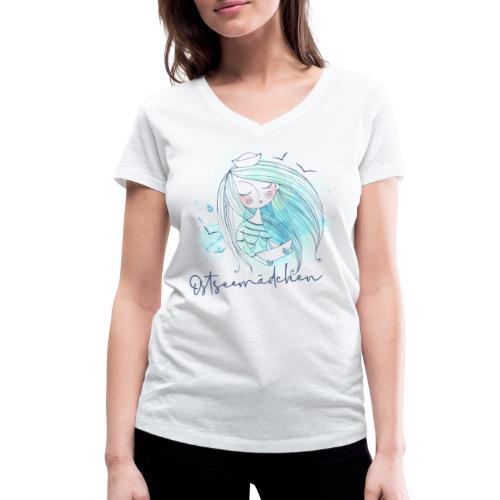 Ostseemädchen Papierboot - Frauen Bio-T-Shirt mit V-Ausschnitt von Stanley & Stella