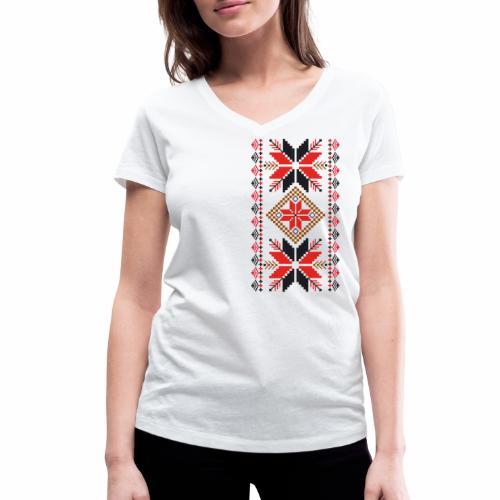 Ornament ludowy - Ekologiczna koszulka damska z dekoltem w serek Stanley & Stella