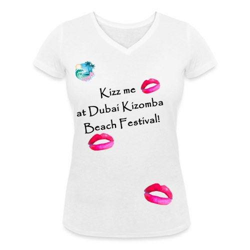 Perfect lips design black text variation 4 - Women's Organic V-Neck T-Shirt by Stanley & Stella