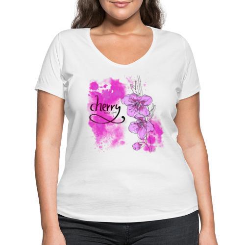 Kirschblüten Zweig - Frauen Bio-T-Shirt mit V-Ausschnitt von Stanley & Stella