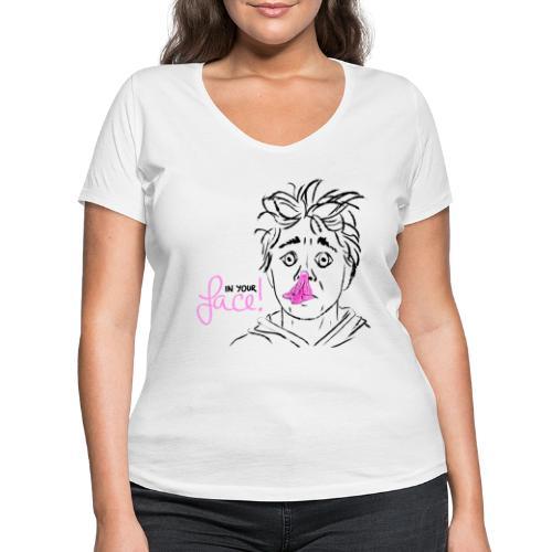 In your face - platzende Kaugummiblase - Frauen Bio-T-Shirt mit V-Ausschnitt von Stanley & Stella