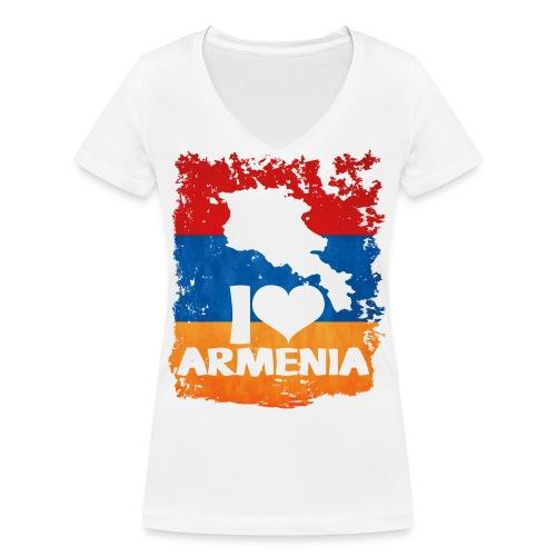 I Love Armenia - Frauen Bio-T-Shirt mit V-Ausschnitt von Stanley & Stella