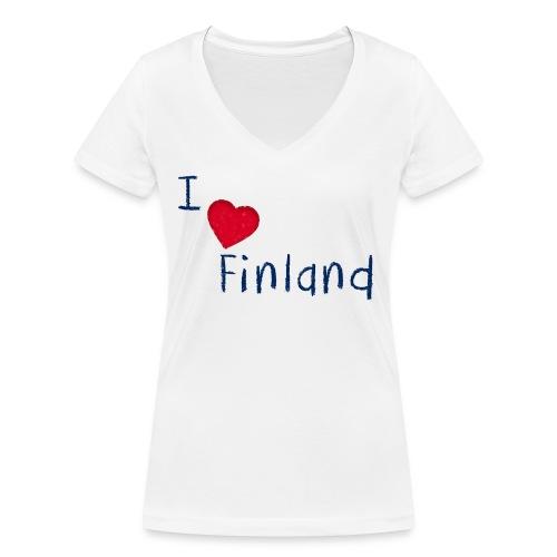 I Love Finland - Stanley & Stellan naisten v-aukkoinen luomu-T-paita