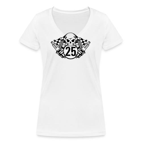 Logo wei schwarz - Frauen Bio-T-Shirt mit V-Ausschnitt von Stanley & Stella