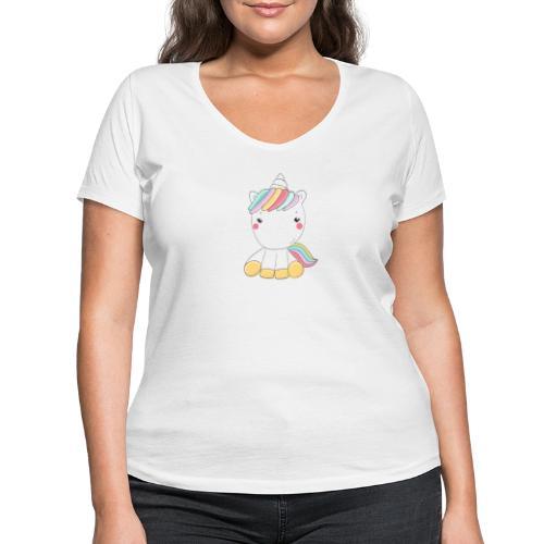 Niedliches Zauber Kawaii Einhorn in Pastelfarben - Frauen Bio-T-Shirt mit V-Ausschnitt von Stanley & Stella