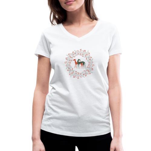 Windhunde im Winterkranz - Frauen Bio-T-Shirt mit V-Ausschnitt von Stanley & Stella