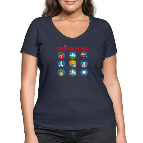 Switzerland - Frauen Bio-T-Shirt mit V-Ausschnitt von Stanley & Stella