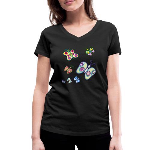 Allegria di farfalle - T-shirt ecologica da donna con scollo a V di Stanley & Stella