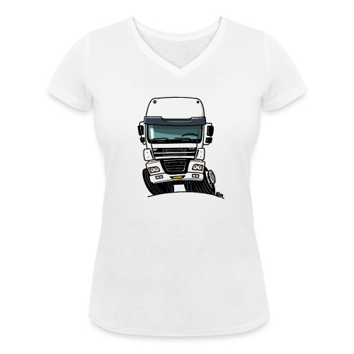 0810 D truck CF wit - Vrouwen bio T-shirt met V-hals van Stanley & Stella