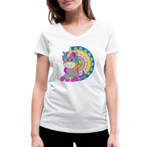 Unicorno Mandala - T-shirt ecologica da donna con scollo a V di Stanley & Stella