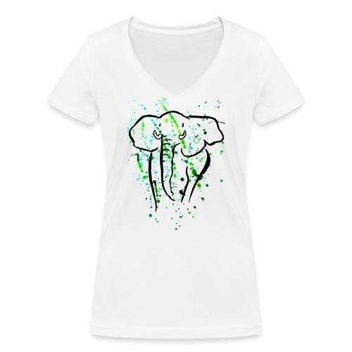 Afrikanischer Elefant I Kleckse - Frauen Bio-T-Shirt mit V-Ausschnitt von Stanley & Stella
