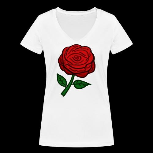 Rote Rose - Frauen Bio-T-Shirt mit V-Ausschnitt von Stanley & Stella